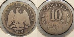 World Coins - MEXICO: 1884-CH M 10 Centavos