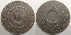 World Coins - BRAZIL: ND (1835) Countermark on 1832-R 80 Reis 40 Reis