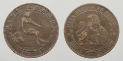 World Coins - SPAIN: 1870 10 Centimos