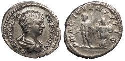 Ancient Coins - Geta, as Caesar 198-209 A.D. Denarius Rome Mint VF