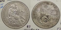 World Coins - PERU: 1892-LIMA TF Sol
