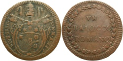 World Coins - ITALY: Papal States Pius VI Year XI (1785) 1 Baiocco