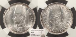 World Coins - EGYPT Farouk 1937 / AH 1356 2 Piastres NGC MS-64