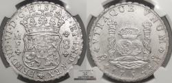 World Coins - MEXICO Ferdinand VI 1754-Mo MF 8 Reales NGC MS-61
