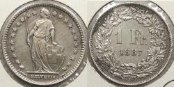 World Coins - SWITZERLAND: 1887-B Franc