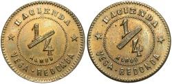 World Coins - PUERTO RICO: Hacienda Vega Redonda 20th century 1/4 Almud Hacienda Token