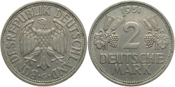 World Coins - GERMANY: 1951-G 2 Mark