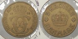 World Coins - DENMARK: 1938 Rare. Semi-key. 2 Kroner