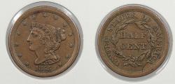 Us Coins - 1855 Braided Hair 1/2 Cent