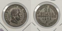 World Coins - GERMAN STATES: Prussia 1873-C Better date. 2 1/2 Silber Groschen