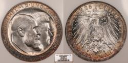 World Coins - GERMAN STATES Wurttemberg Wilehelm II 1911-F 3 Mark NGC MS-66