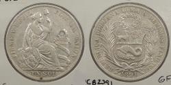 World Coins - PERU: 1891-LIMA TF/BF Sol