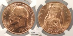 World Coins - GREAT BRITAIN George V 1913 Penny NGC MS-63 RD