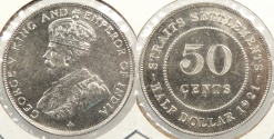 World Coins - STRAITS SETTLEMENTS: 1921 50 Cents