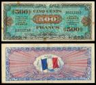 World Coins - FRANCE Allied Military Currency 1944 500 Francs EF