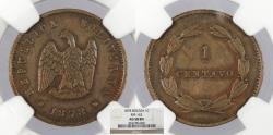 World Coins - BOLIVIA 1878 Centavo NGC AU-58 BN