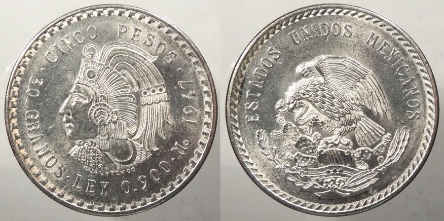 World Coins - MEXICO: 1947 5 Pesos