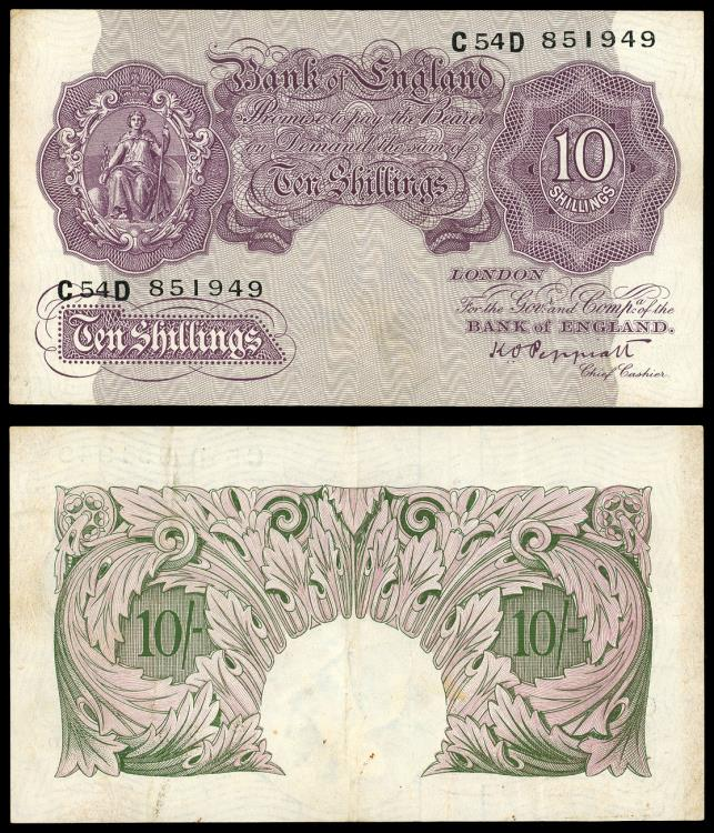 World Coins - GREAT BRITAIN Bank of England ND (1940-1948) 10 Shillings VF+