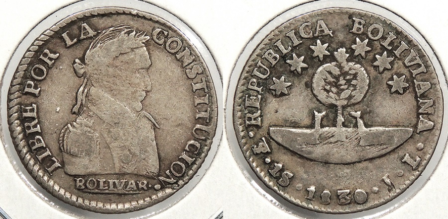 World Coins - BOLIVIA: 1830-PTS JL Sol