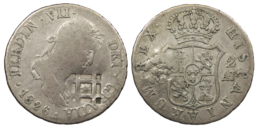World Coins - CUBA Trinidad, Santiago, or Principe Isabella II ND (1841) (1826-M AJ) Lattice Countermarked 2 Reales Good VF
