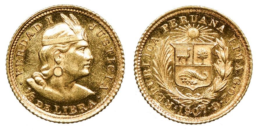 World Coins - PERU Republic 1907-LIMA G.OZ.G 1/5 Libra UNC