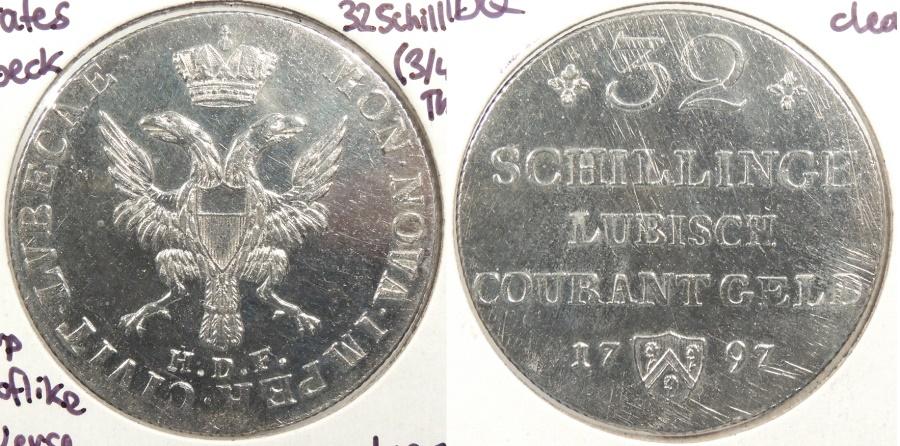 World Coins - GERMAN STATES: Lubeck 1796-HDF 32 Schilling (3/4 Thaler)