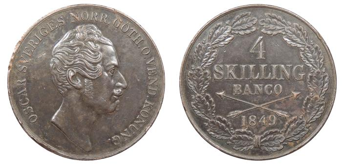 World Coins - SWEDEN Oscar I 1849 4 Skilling AU