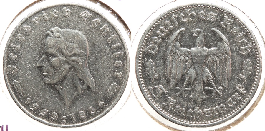 World Coins - GERMANY: Third Reich 1934-F Schiller commemorative - 100,000 struck 5 Mark