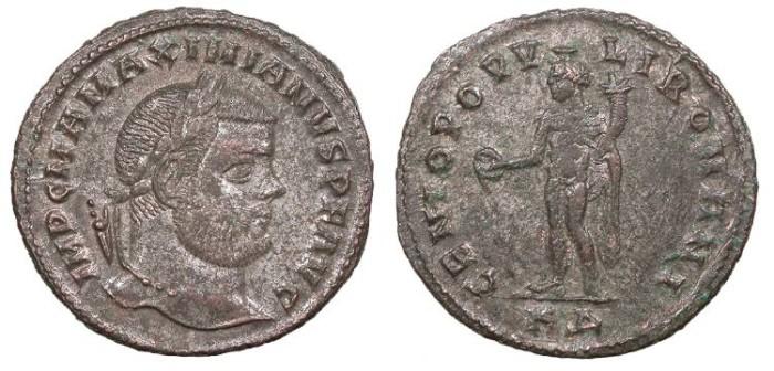 Ancient Coins - Maximianus 286-305 AD Follis Cyzicus Mint Good VF