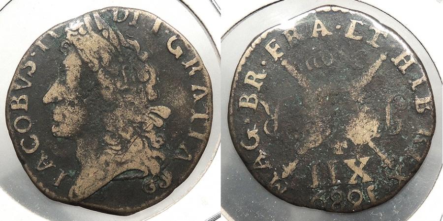 World Coins - IRELAND: 1689 Nov. Gun Money Shilling