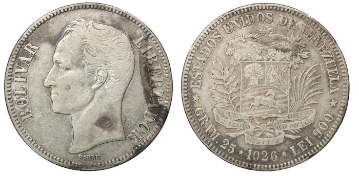 World Coins - VENEZUELA Republic 1926 5 Bolivares VF