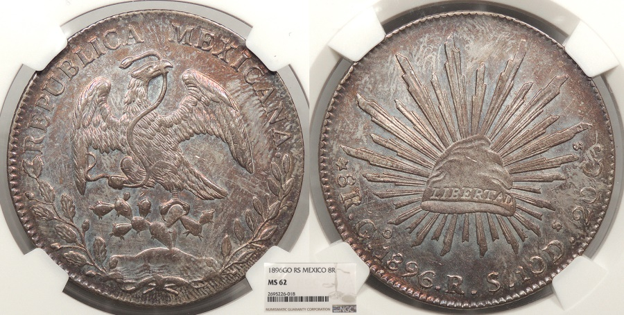 World Coins - MEXICO 1896-Go RS 8 Reales NGC MS-62