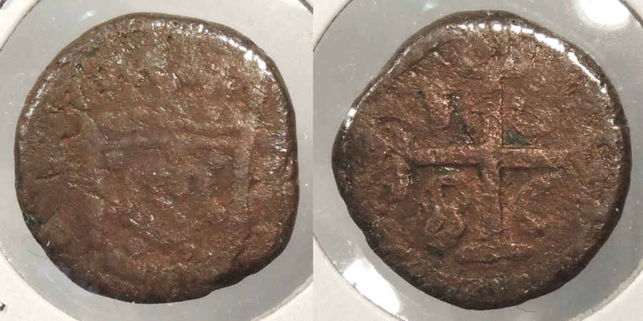 World Coins - INDIA: Portuguese Damao or Diu 1686 Bazarucco