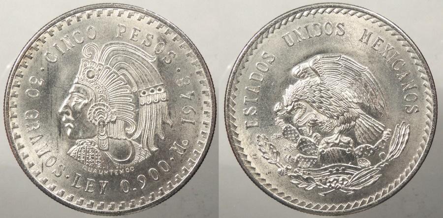 World Coins - MEXICO: 1948 5 Pesos