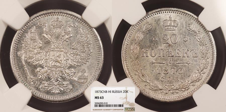 World Coins - RUSSIA Nicholas II 1873-SPB 20 Kopeks NGC MS-63