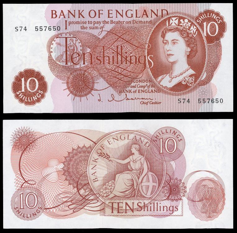World Coins - GREAT BRITAIN Bank of England. ND (1960-1970) 10 Shillings EF/AU