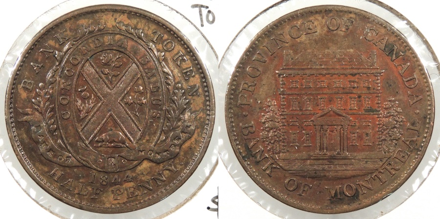 World Coins - CANADA: Province of Canada 1844 Bank of Montreal Halfpenny Token #WC63881