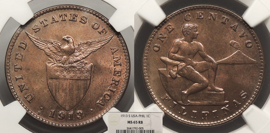 World Coins - PHILIPPINES 1913-S Centavo NGC MS-65 RB