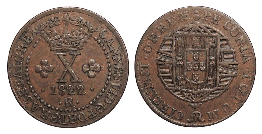 World Coins - BRAZIL Joao VI 1822-R 10 Reis AU
