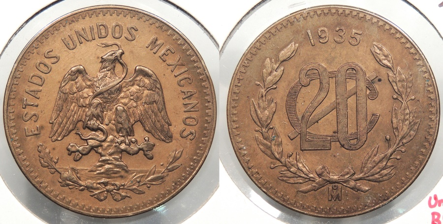 World Coins - MEXICO: 1935-Mo 20 Centavos