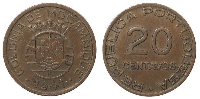 World Coins - MOZAMBIQUE Republic 1941 20 Centavos AU