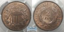 Us Coins - 1865 2 Cents PCGS MS-65 BN