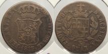 World Coins - SPAIN: Barcelona 1823 3 Quartos