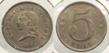 World Coins - COLOMBIA: 1886 5 Centavos #WC63439