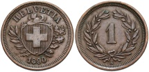 World Coins - SWITZERLAND: 1890 1 Rappen