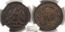 World Coins - MEXICO 1893-Mo Centavo NGC MS-63 BN