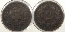 World Coins - SWITZERLAND: 1875-B 2 Rappen