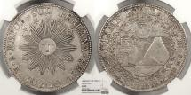 World Coins - PERU South Peru 1838-CUZCO MS 8 Reales NGC AU-50