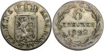 World Coins - GERMAN STATES: Nassau 1828 6 Kreuzer
