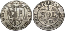 World Coins - SWISS CANTONS: Geneva 1825 1 Sol, 6 Deniers (1 1/2 Sol)